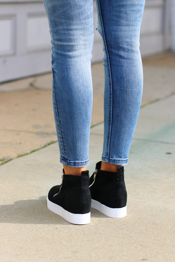Follow the Beat Wedge Sneakers - Black - Madison and Mallory