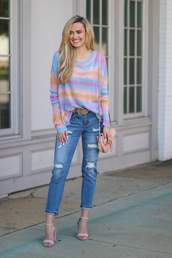 Burst Into Colors Striped Sweater - Madison + Mallory