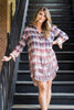 Ombre Floral Plaid Tunic Dress - Madison + Mallory