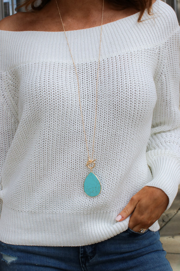 Turquoise Go With It Stone Toggle Necklace - Madison + Mallory