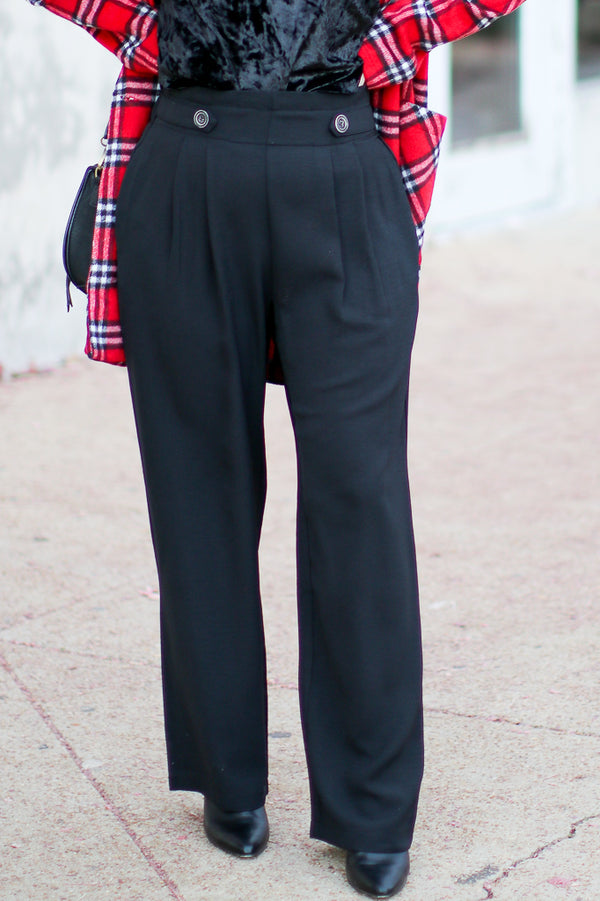 M / Black Melinda Side Button Wide Leg Pants - Madison + Mallory