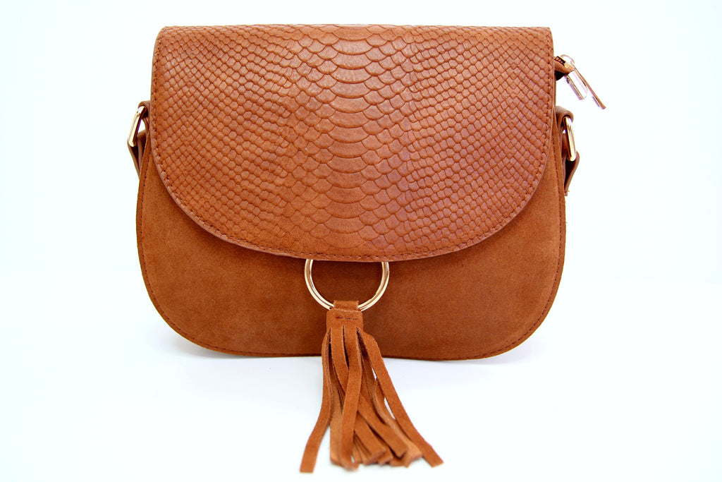 Tan Suede Two Tone Fringe Crossbody