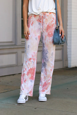 S / Blush Name of the Game Tie Dye Pants - FINAL SALE - Madison + Mallory