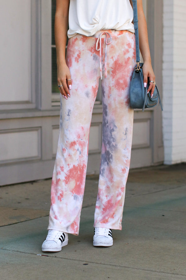 S / Blush Name of the Game Tie Dye Pants - Madison + Mallory