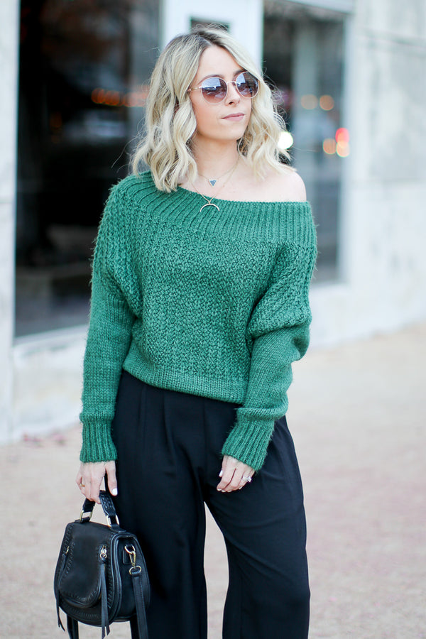 Green / SM Linden Off Shoulder Sweater - Green - Madison + Mallory