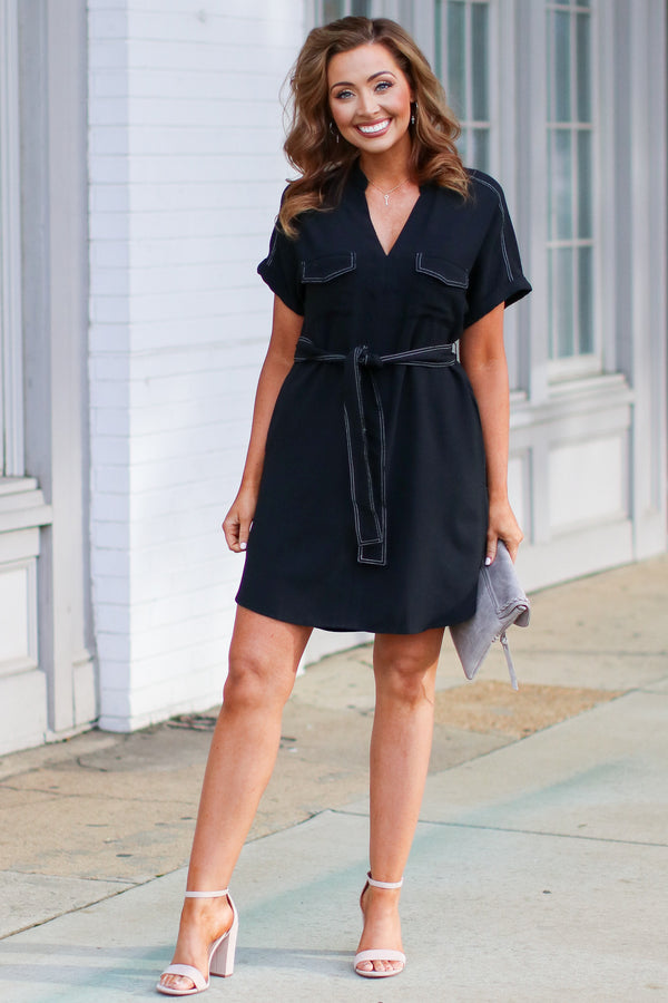 Tallulah V-Neck Shirt Dress - Black - Madison and Mallory