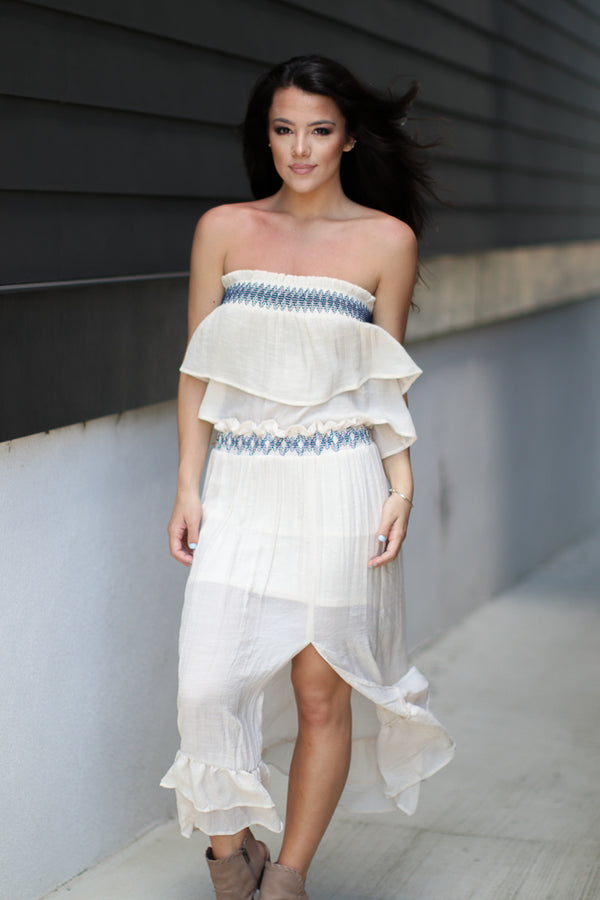 Cai Embroidered Maxi Skirt - Madison + Mallory