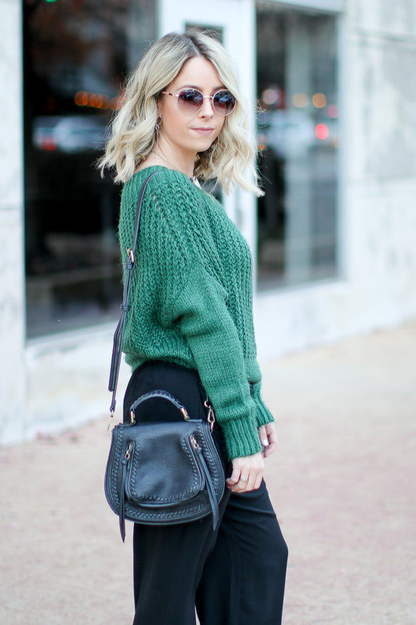Linden Off Shoulder Sweater - Green - Madison + Mallory