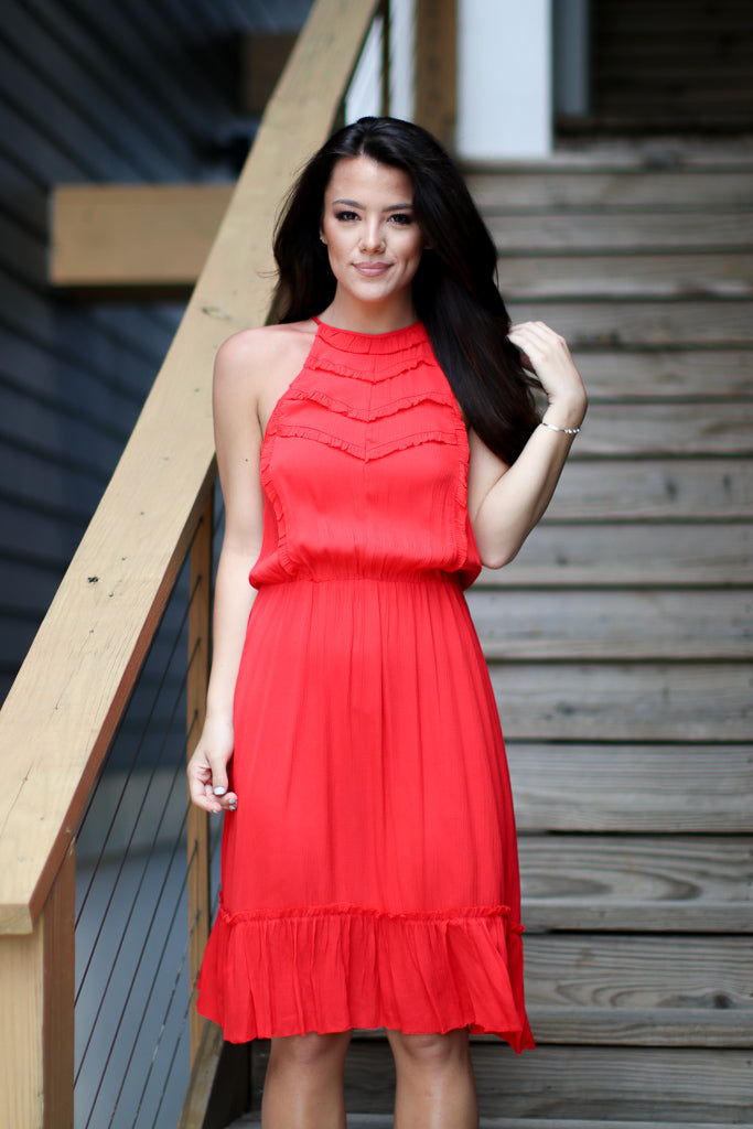 Halter Ruffle Laser Cut Dress - FINAL SALE - Madison + Mallory