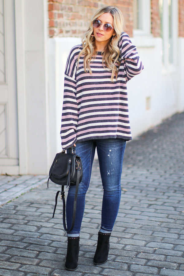 Shaya Striped Chenille Pullover - Madison + Mallory