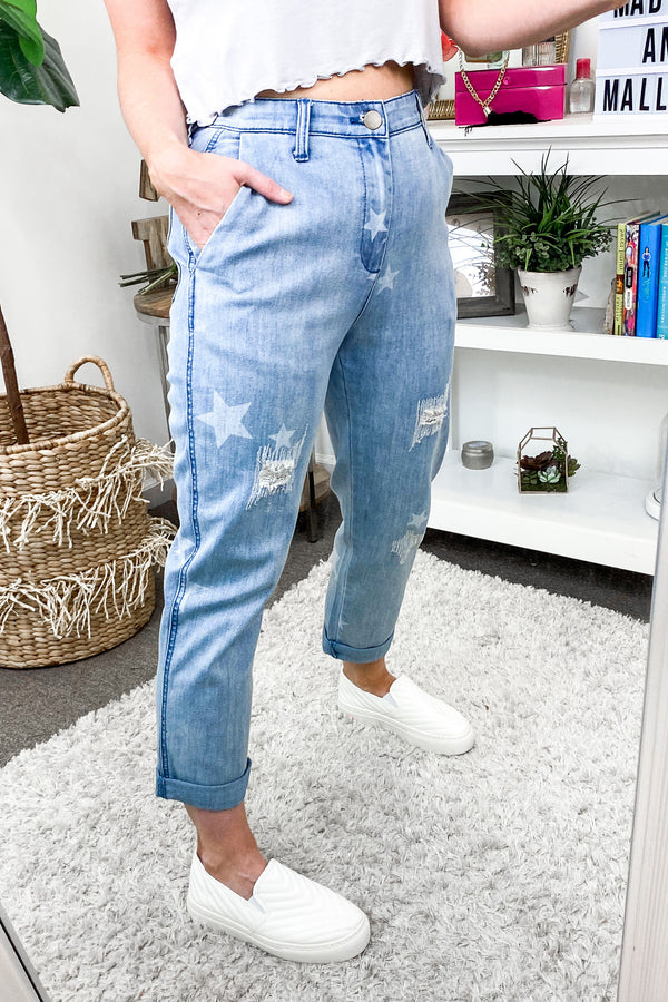 Star of My Eye Distressed Jeans - Madison and Mallory