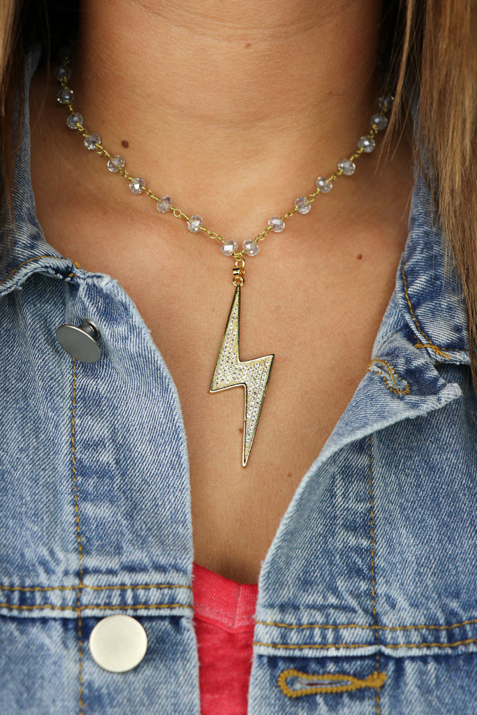 OS / Blue Young Spark Necklace - Madison + Mallory