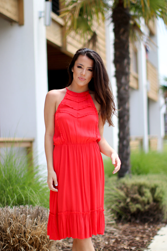 XS / Red Halter Ruffle Laser Cut Dress - FINAL SALE - Madison + Mallory
