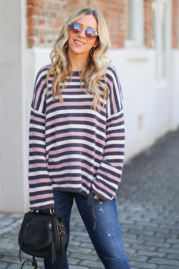 S / Blush Shaya Striped Chenille Pullover - Madison + Mallory