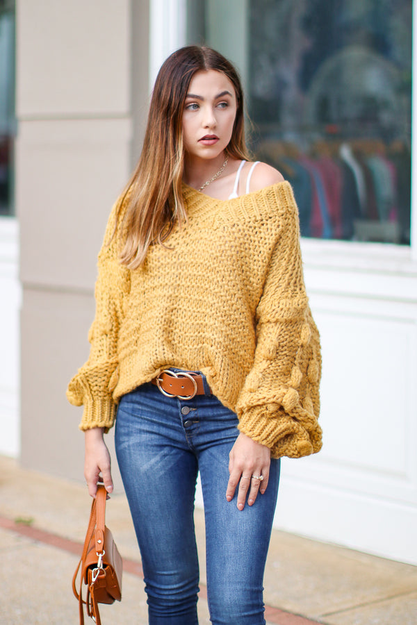 Obsession Confession Sweater - Mustard - Madison + Mallory