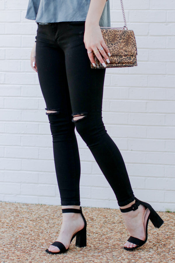 1 / Black In a Daze Distressed Black Jeans - Madison + Mallory