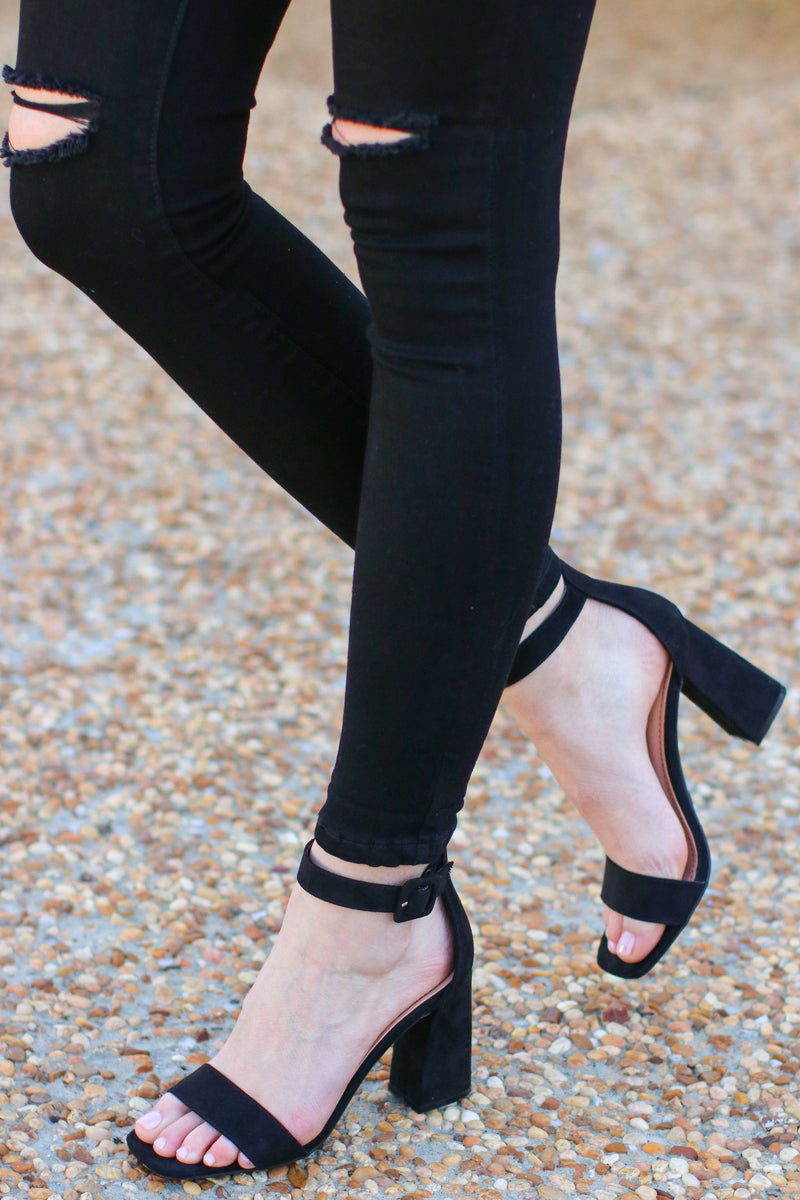 6 / Black Chic Intuitions Faux Suede Heels - Madison and Mallory