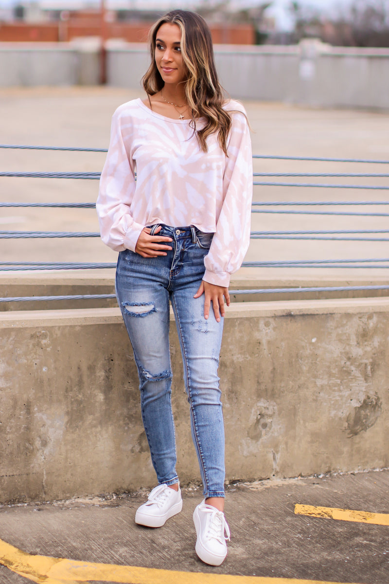 Go Toward Cozy Bleached Pullover - Madison and Mallory