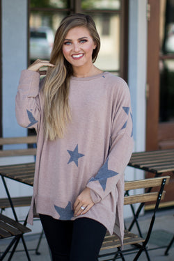 S / Taupe You're the Star Top - Madison + Mallory