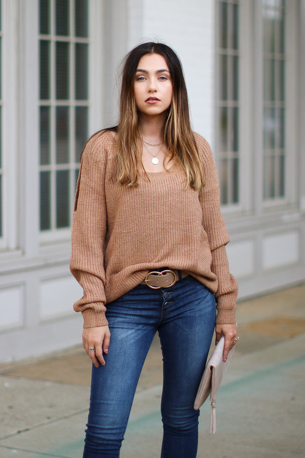 SM / Camel How Will I Know Knit Sweater - Madison + Mallory