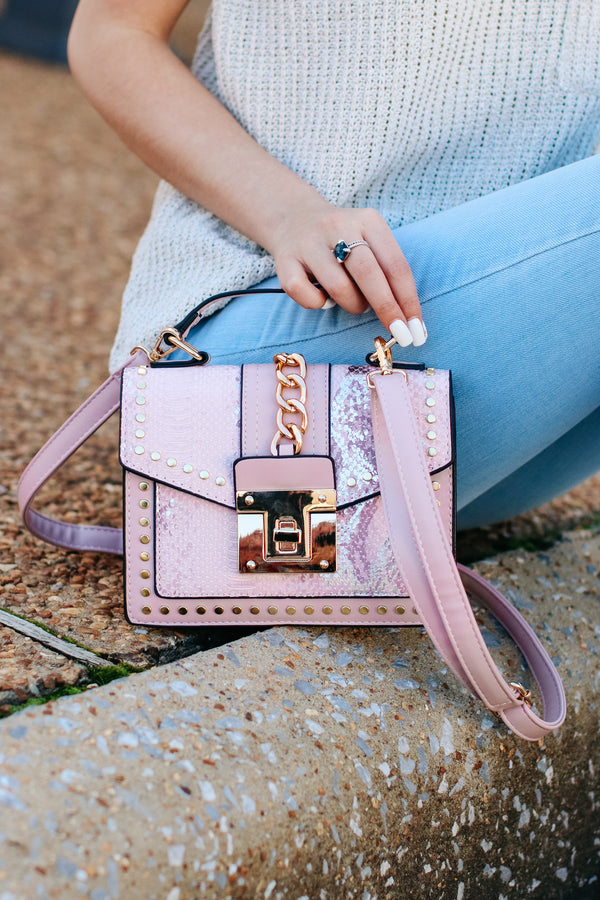 Pink Audra Studded Snake Print Crossbody Bag - Pink - Madison + Mallory