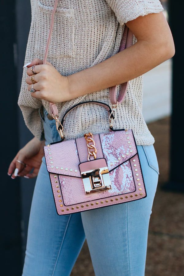 Audra Studded Snake Print Crossbody Bag - Pink - Madison + Mallory