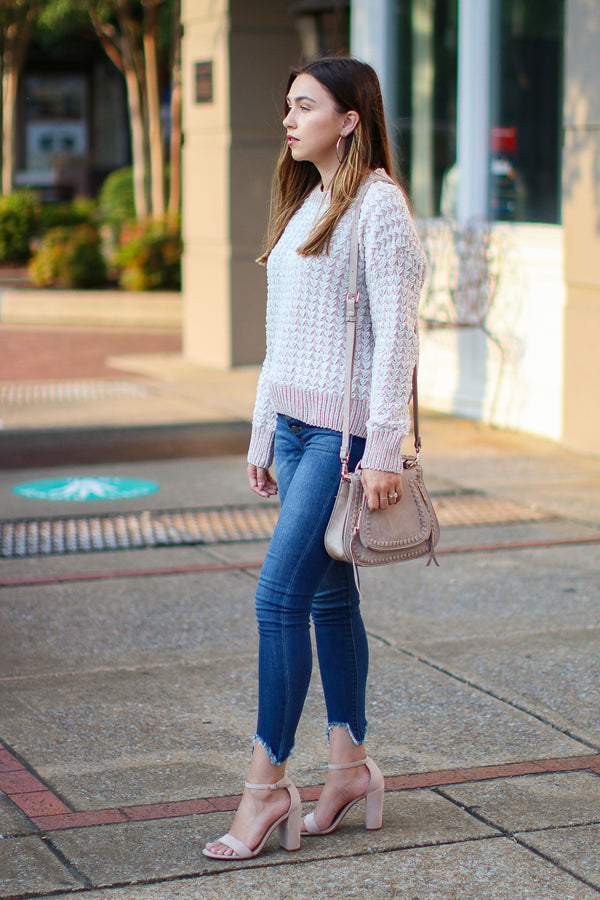 Woven Work Textured Knit Sweater - Madison + Mallory