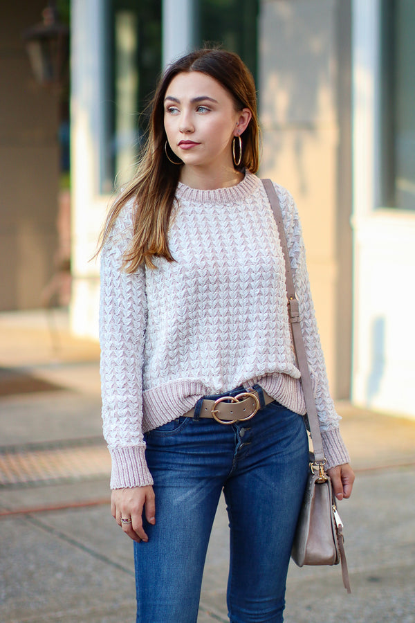 SM / Pink Woven Work Textured Knit Sweater - Madison + Mallory