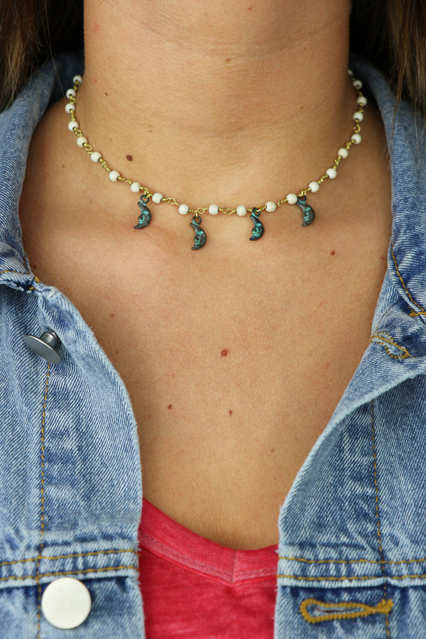 OS / Cream Moon Shine Choker - Madison + Mallory