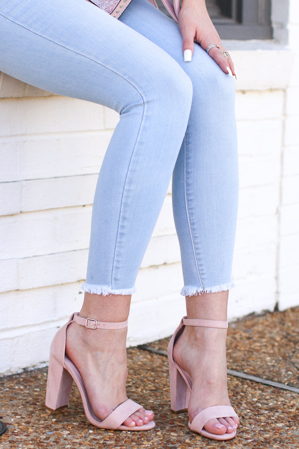 6 / Blush Simply Classic Faux Suede Block Heels - Madison and Mallory