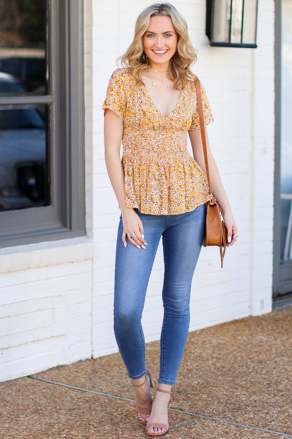 Paper Rings Floral Ruffle Top - Yellow - Madison + Mallory