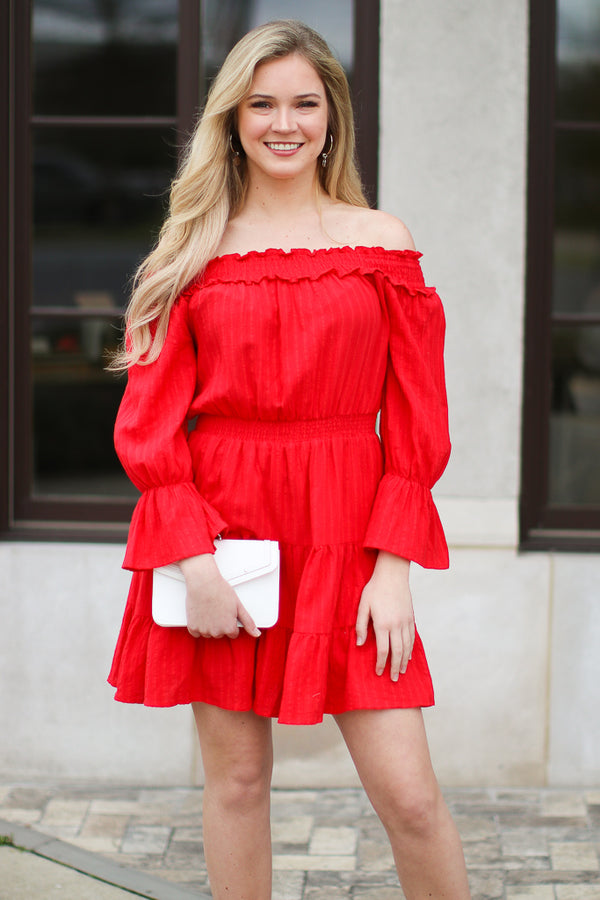 3b17d53f8791 ... S   Red Voyager Off the Shoulder Tiered Dress - Madison + Mallory
