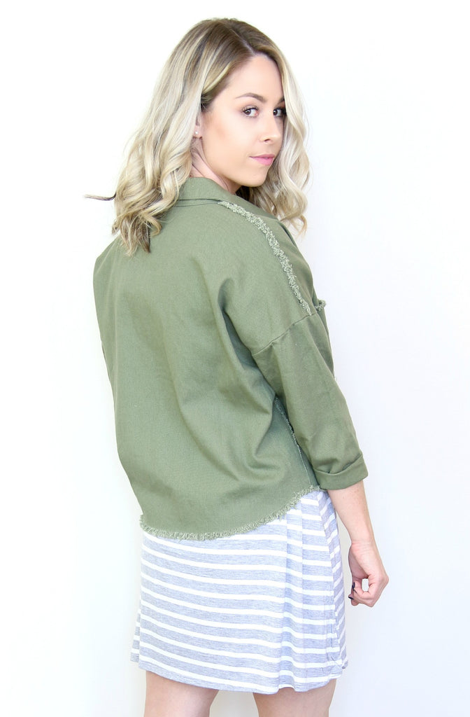 Olive Frayed Jacket