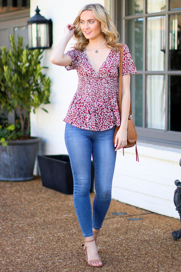 Paper Rings Floral Ruffle Top - Rust - Madison + Mallory