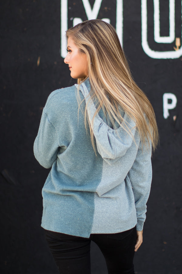 Reverse Terry Hoodie - Blue - Madison + Mallory