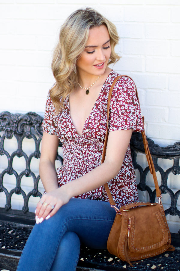 Rust / S Paper Rings Floral Ruffle Top - Rust - Madison + Mallory