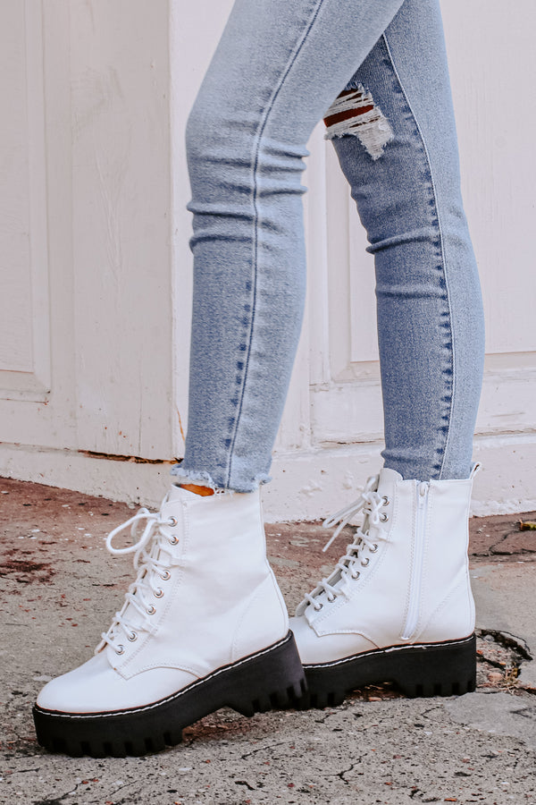 7 / White Zandara Chunky Combat Boots - Madison and Mallory