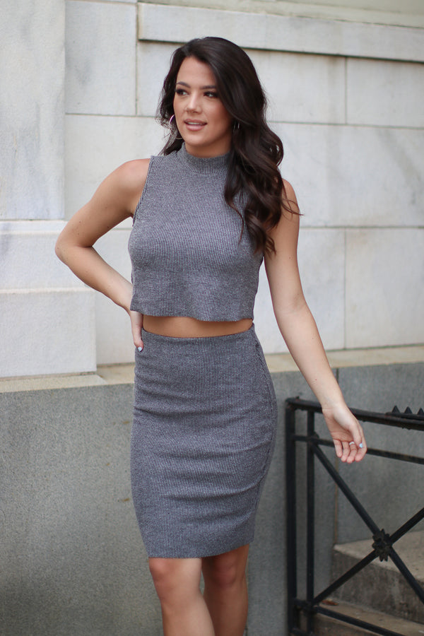 S / Charcoal Ribbed Knit Pencil Skirt - Madison + Mallory