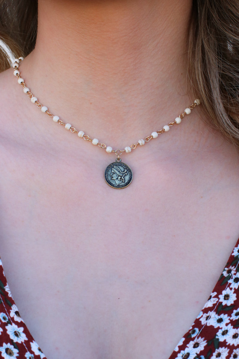 Natural Sabella Beaded Coin Necklace - Madison and Mallory