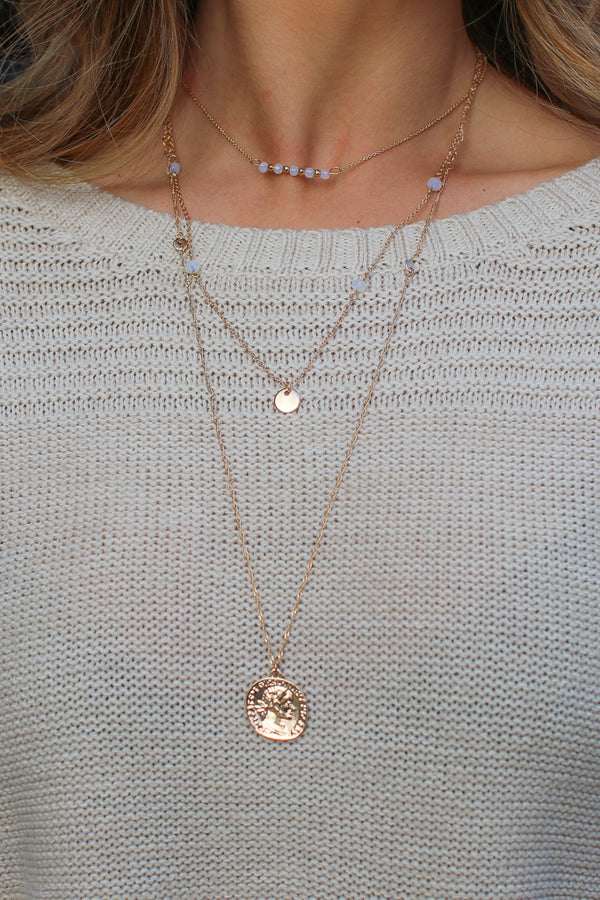OS / Gold Lucky Coin Layered Necklace - Madison + Mallory
