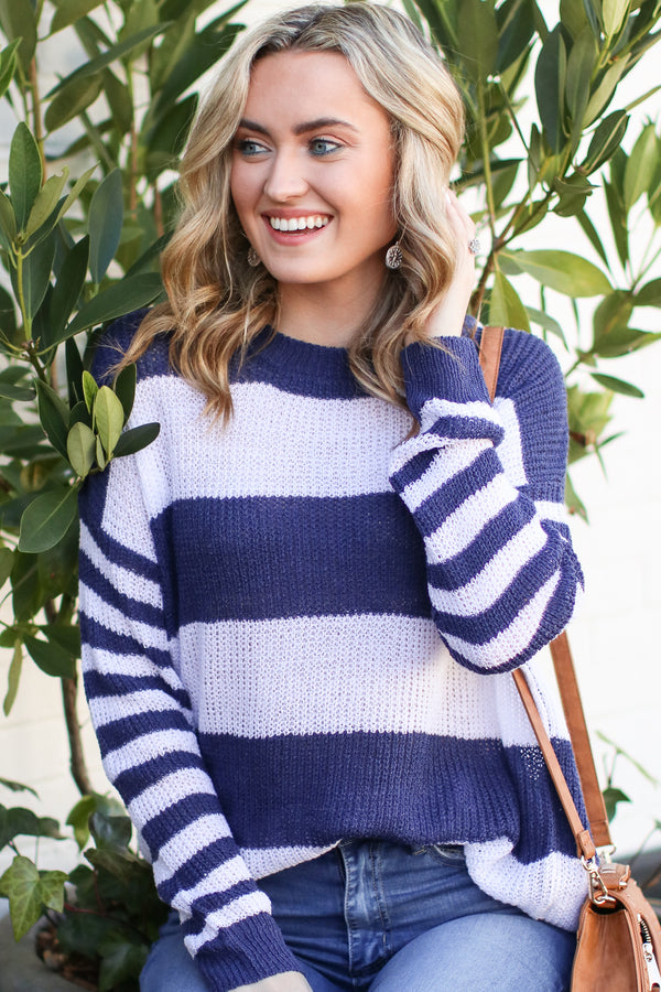 S / Navy Taron Striped Sweater - FINAL SALE - Madison and Mallory