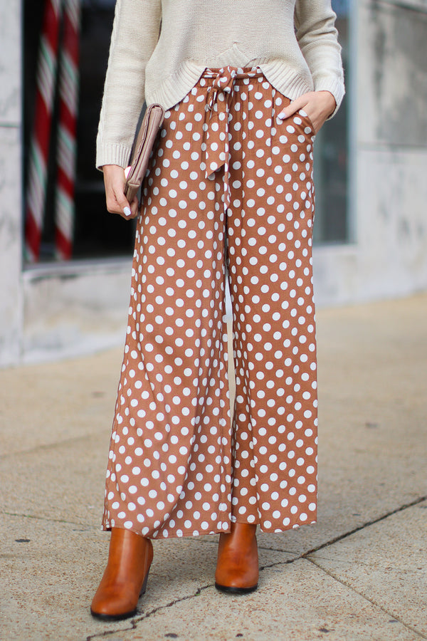 S / Brown Novi Polka Dot Pants - Madison + Mallory