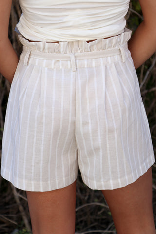 Striped Waist Tie Shorts