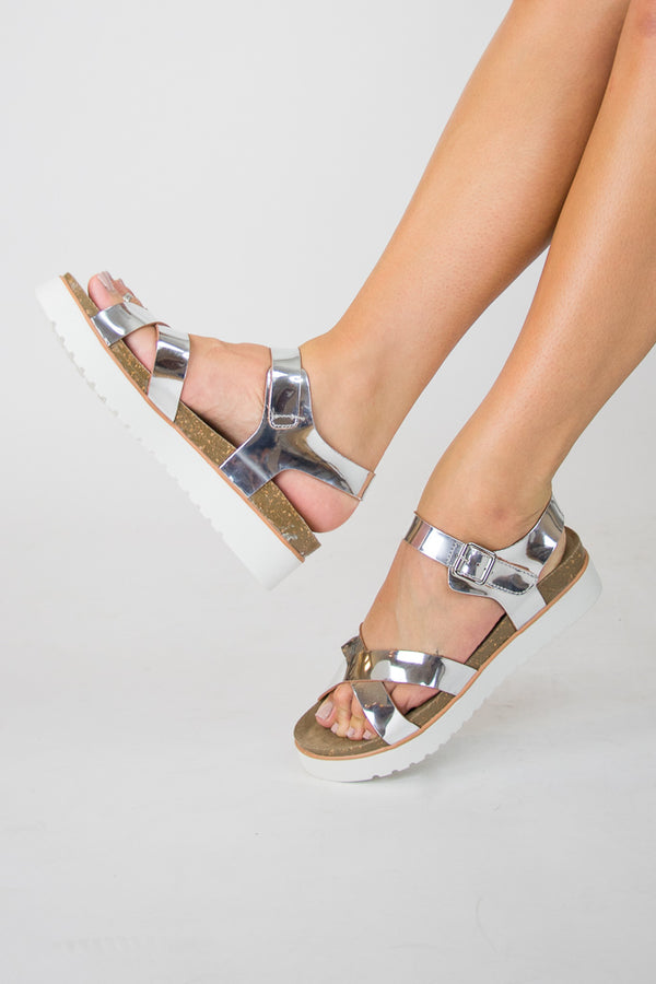 6 / Silver Aim to Shine Flatform Sandals - FINAL SALE - Madison + Mallory