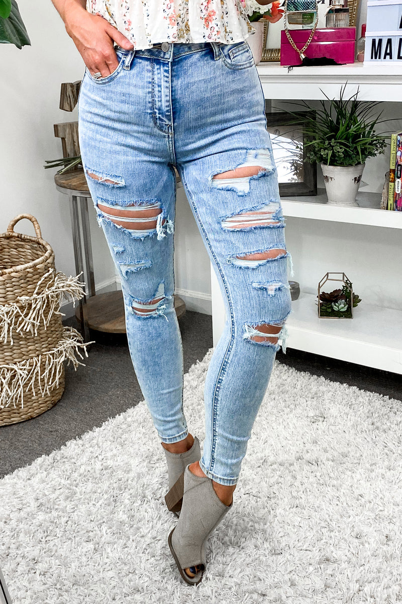 Renze Distressed Skinny Jeans - Madison and Mallory