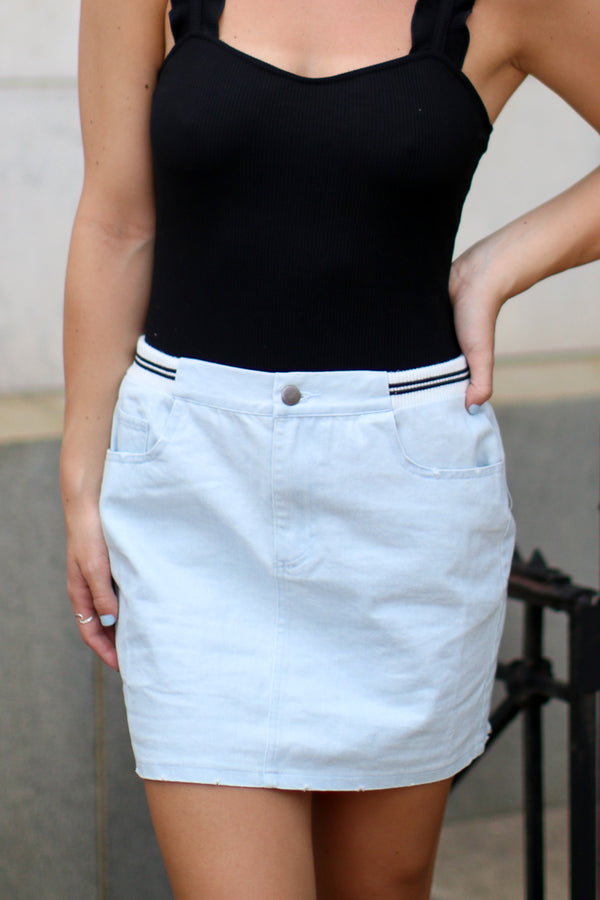 S / Denim Varsity Waistband Denim Skirt - Madison + Mallory