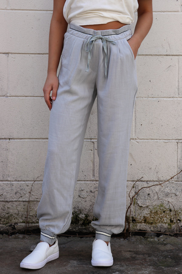 S / Blue Gray Contrast Waistband Joggers - Madison + Mallory