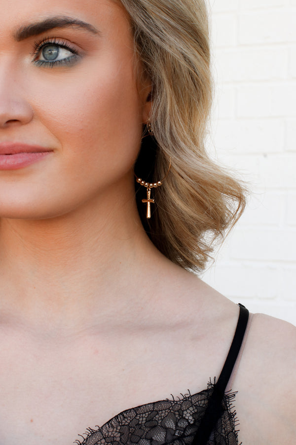 Touch Of Luck Cross Earrings - Madison + Mallory