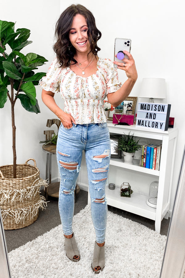 1 / Light Renze Distressed Skinny Jeans - Madison and Mallory