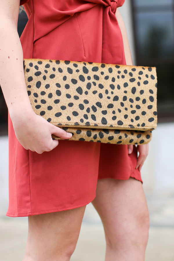 OS / Tan By All Accounts Leopard Envelope Clutch - Madison + Mallory